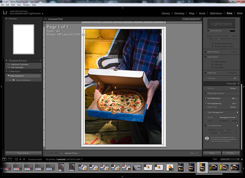 Модуль Print (Печать) Lightroom Classic